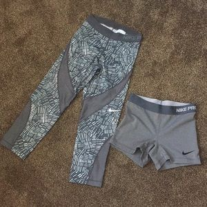 NIKE LOT crops and compression shorts XS gray